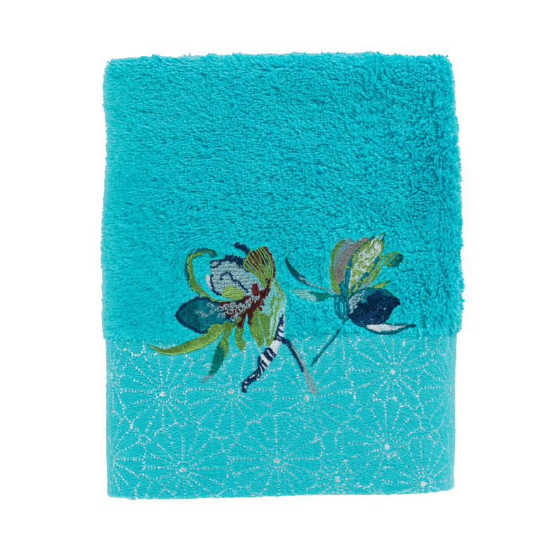 serviette de toilette iloha turquoise carre blanc. Black Bedroom Furniture Sets. Home Design Ideas