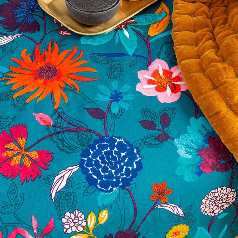 Housse de couette lin et coton imprimé motif floral indien Indie  - 3