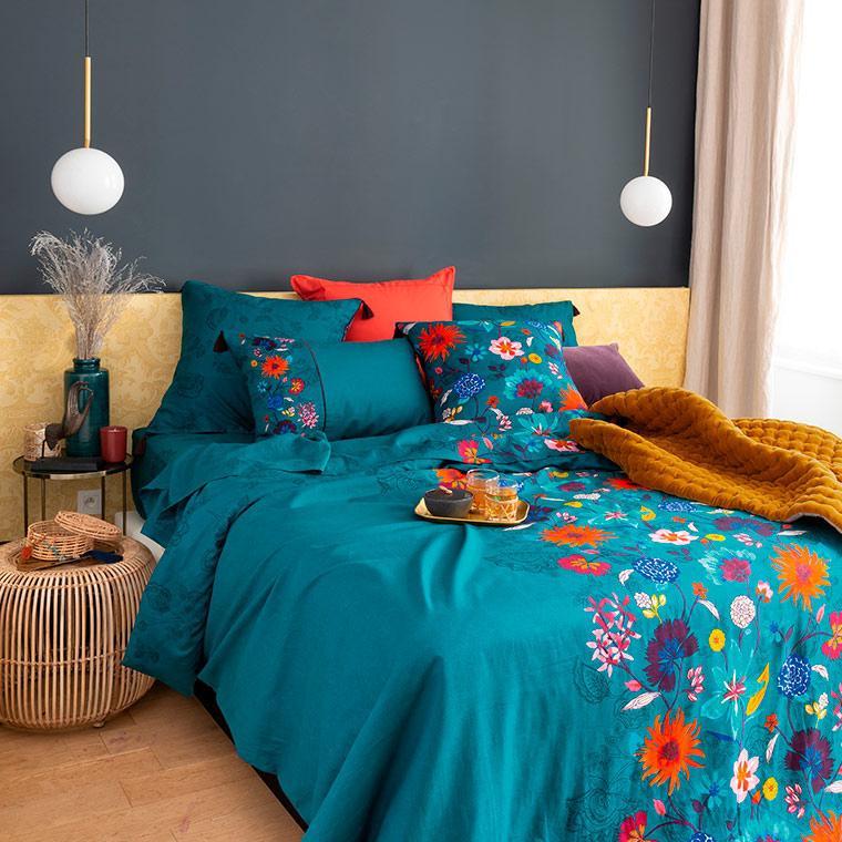 Housse de couette lin et coton imprimé motif floral indien Indie  - 0
