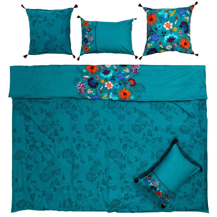 Housse de couette lin et coton imprimé motif floral indien Indie  - 5