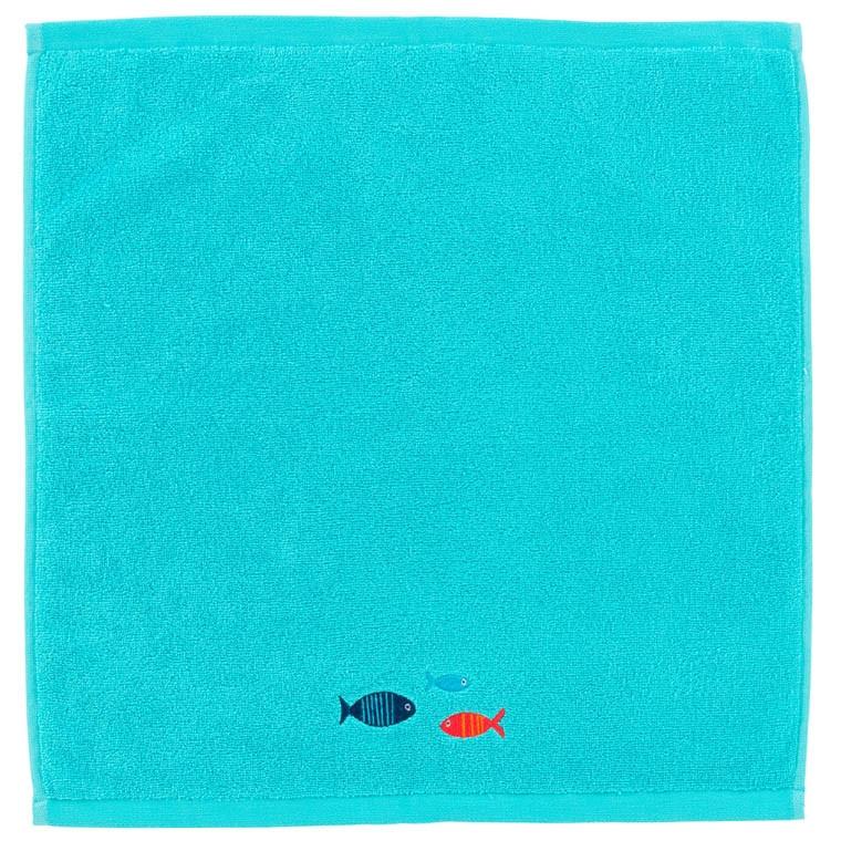 Essuie main coton brodé Iroise turquoise - 1