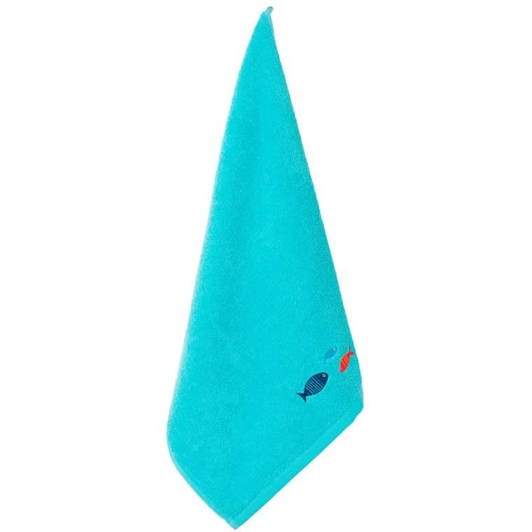 Essuie main coton brodé Iroise turquoise - 0