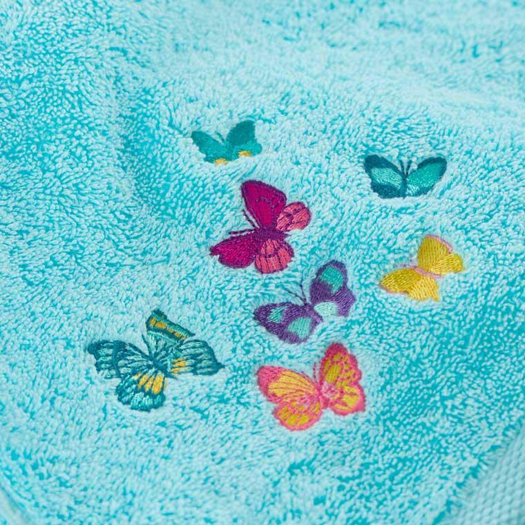 Parure de bain bouclette de coton brodé papillons Issoria - 4
