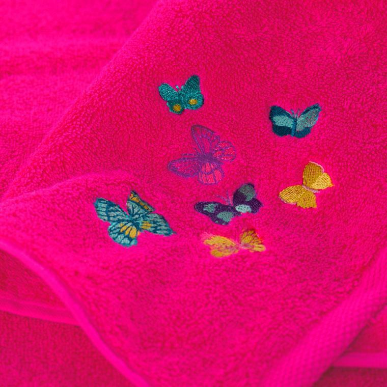 Parure de bain bouclette de coton brodé papillons Issoria - 6