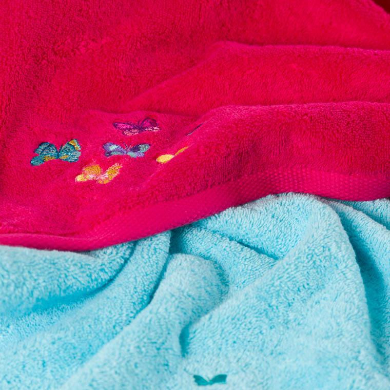 Parure de bain bouclette de coton brodé papillons Issoria - 1