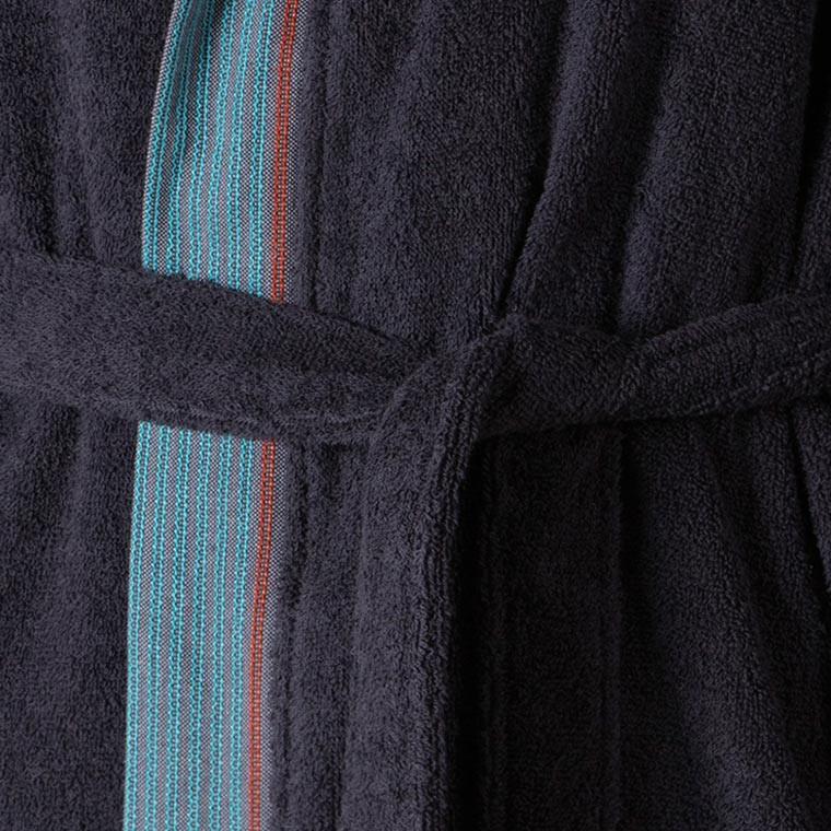 Peignoir homme coton brodé James encre - 5