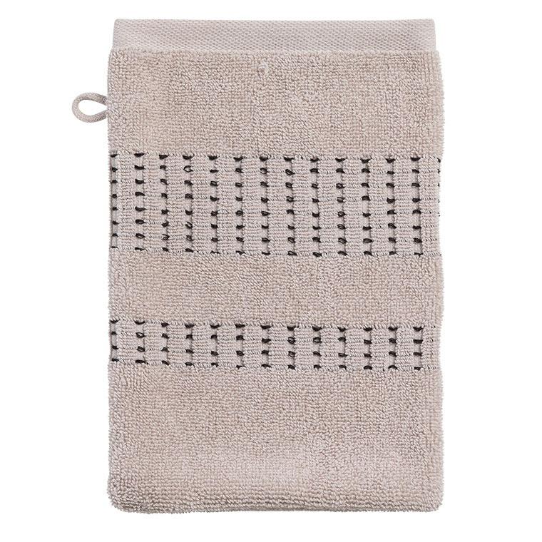Gant de toilette bouclette de coton tissage jacquard Kuro mastic  - 1