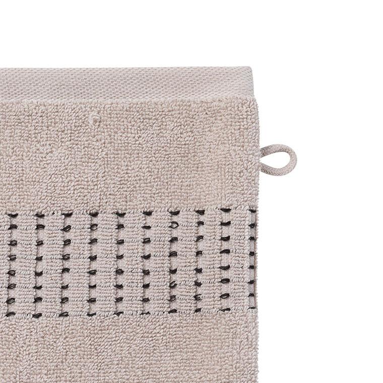 Gant de toilette bouclette de coton tissage jacquard Kuro mastic  - 2