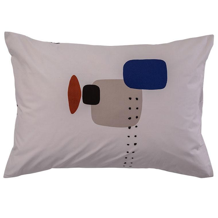 Taie d'oreiller rectangulaire percale de coton imprimée graphique Kuro   - 0