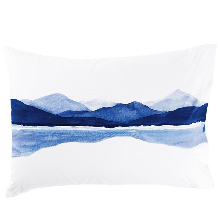 Taie d'oreiller rectangulaire percale de coton imprimée paysage de montagne Le lac - 0