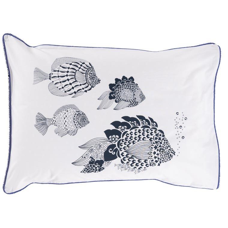 Taie d'oreiller rectangulaire percale de coton poisson mandala Mahoa - 0