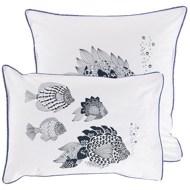 Taie d'oreiller rectangulaire percale de coton poisson mandala Mahoa - 4