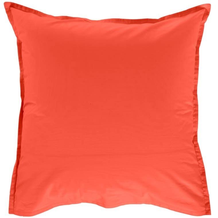 Taie d'oreiller carrée percale de coton Neo safran - 1