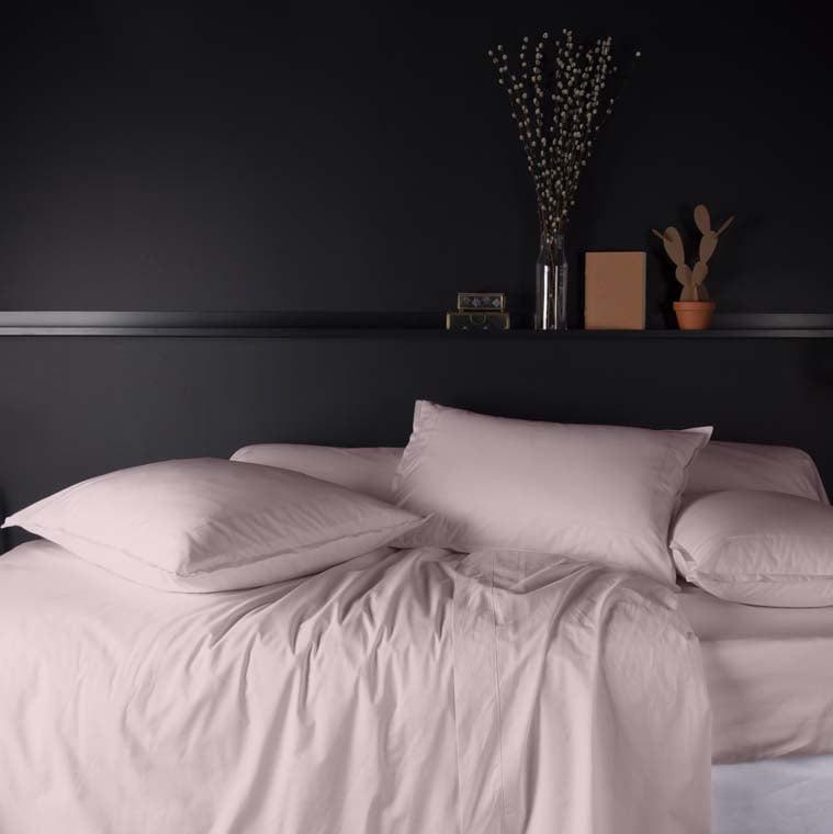 Parure de lit percale de coton Neo poudre - 0