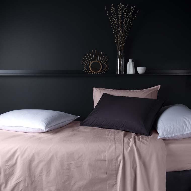 Parure de lit percale de coton Neo poudre - 1