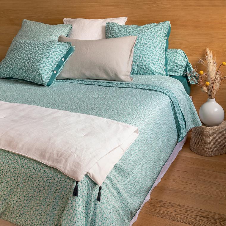 Parure de lit percale de coton imprimée liberty fleurs Ondine bohème - vintage - 0
