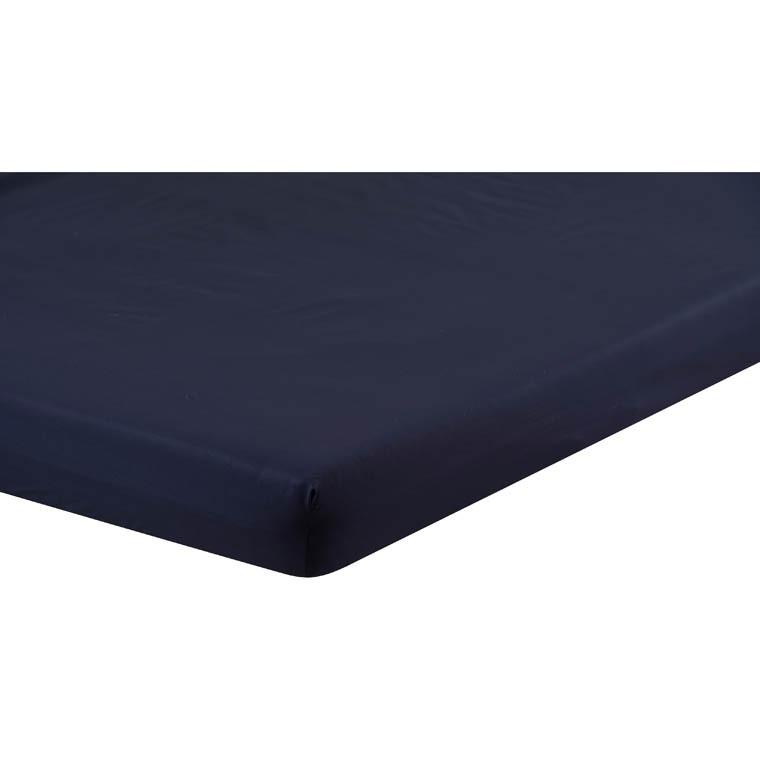 drap housse opale bleu nuit carre blanc. Black Bedroom Furniture Sets. Home Design Ideas