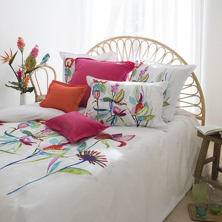housse de couette paraiso carre blanc. Black Bedroom Furniture Sets. Home Design Ideas