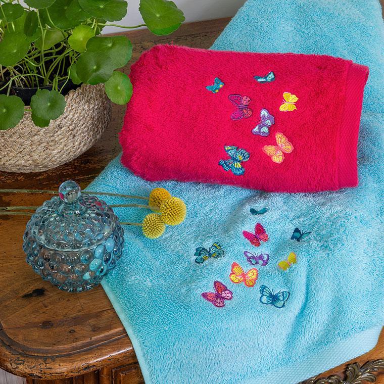 Parure de bain bouclette de coton brodé papillons Issoria - 0