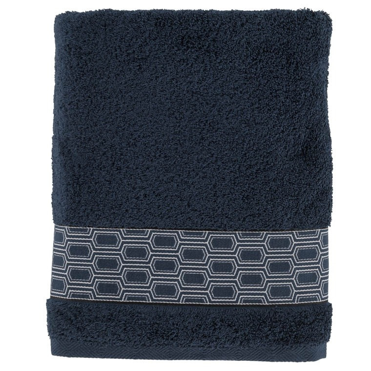 drap de bain preston bleu nuit carre blanc. Black Bedroom Furniture Sets. Home Design Ideas