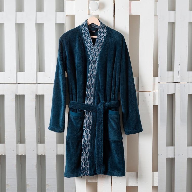 robe de chambre homme preston bleu nuit carre blanc