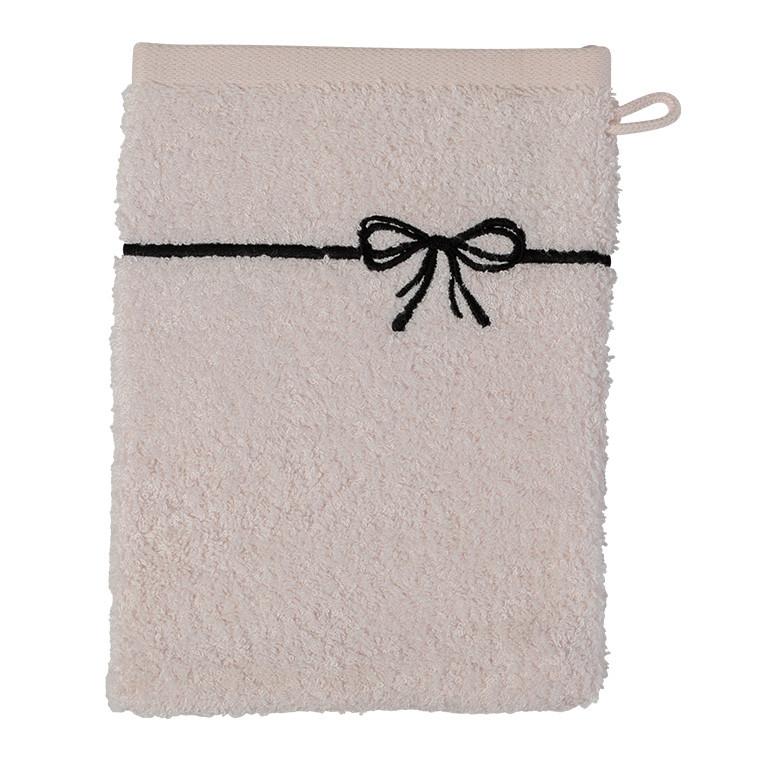 Gant de toilette bouclette de coton et viscose de bambou broderie noeud Promesse nude  - 0