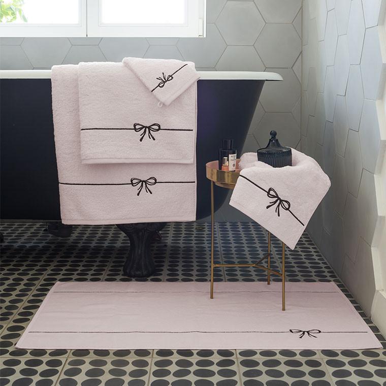 Gant de toilette bouclette de coton et viscose de bambou broderie noeud Promesse nude  - 4