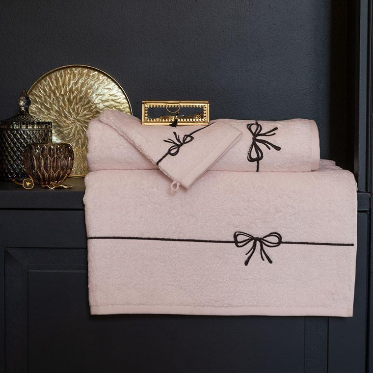 Gant de toilette bouclette de coton et viscose de bambou broderie noeud Promesse nude  - 3