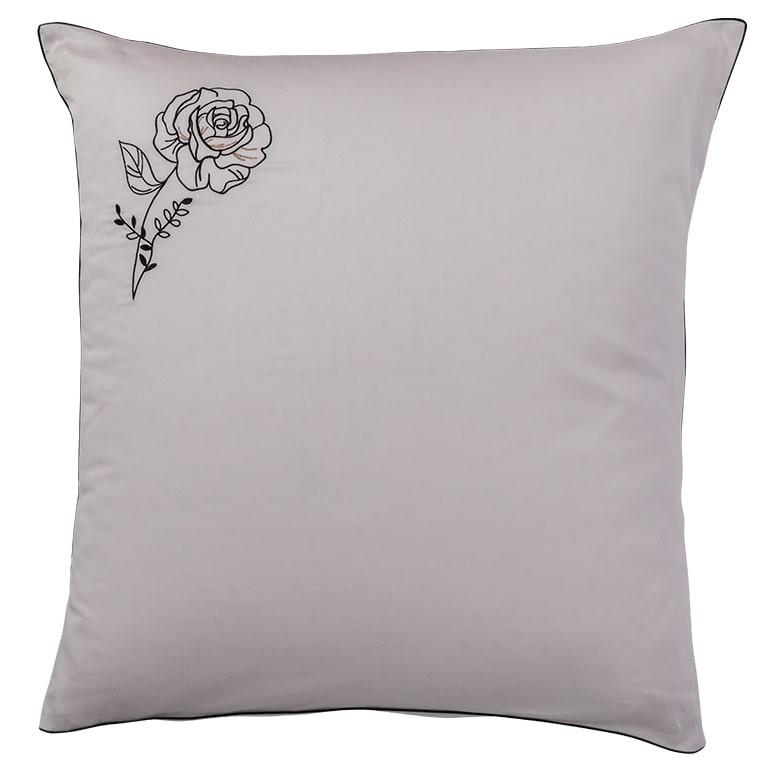 Taie d'oreiller carrée satin de coton brodée floral Promesse nude  - 0