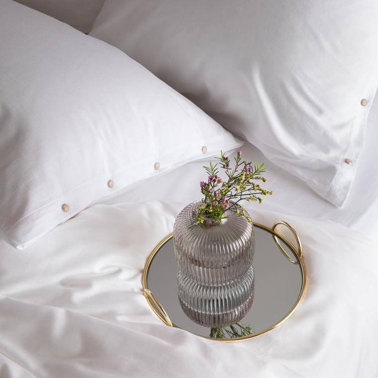 Taie d'oreiller carrée satin de coton lavé bio Quartz blanc - 3