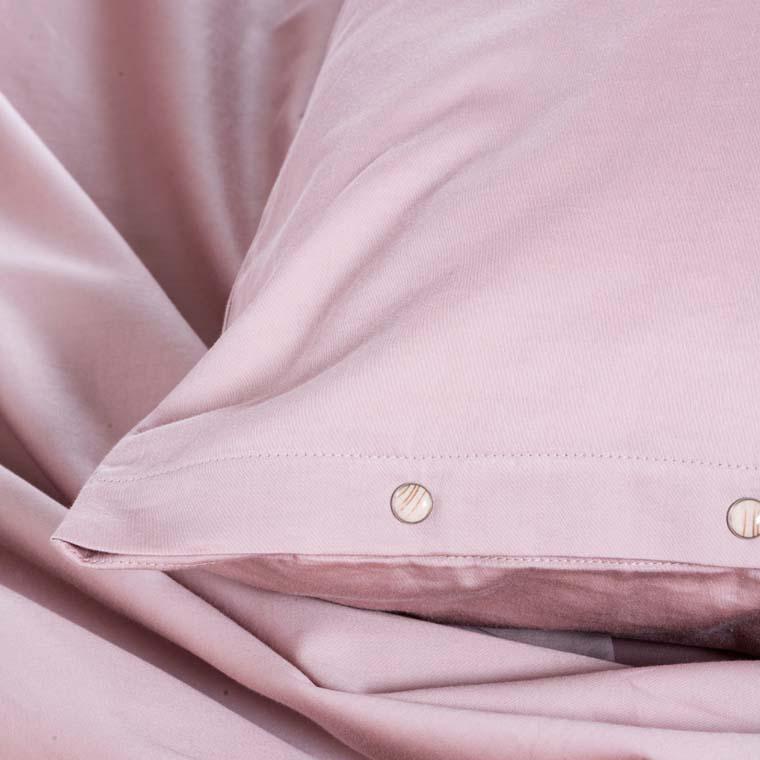 Taie d'oreiller carrée satin de coton lavé bio Quartz blush - 4