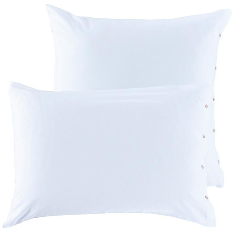 Taie d'oreiller carrée satin de coton lavé bio Quartz blanc - 2
