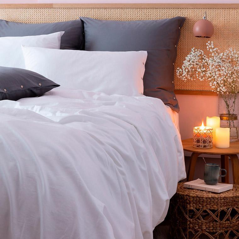 Taie d'oreiller carrée satin de coton lavé bio Quartz blanc - 4