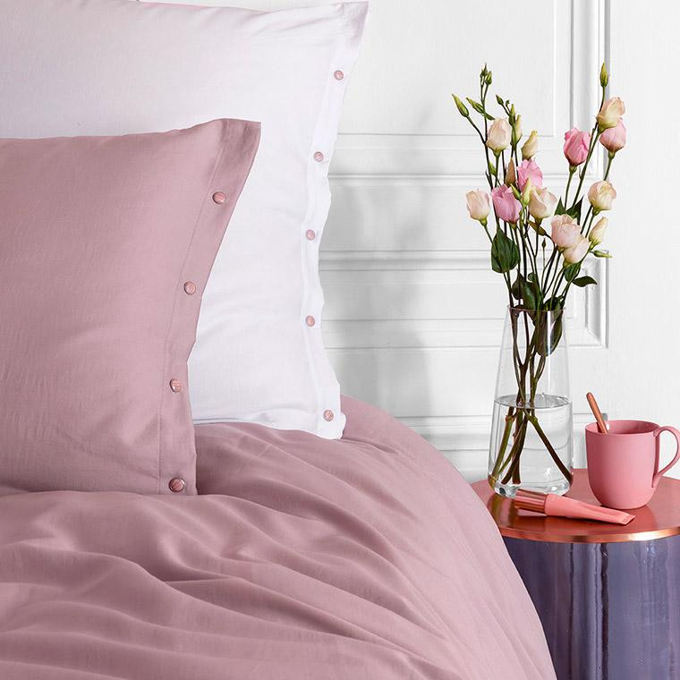 Taie d'oreiller carrée satin de coton lavé bio Quartz blush - 5