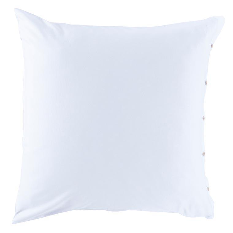 Taie d'oreiller carrée satin de coton lavé bio Quartz blanc - 0