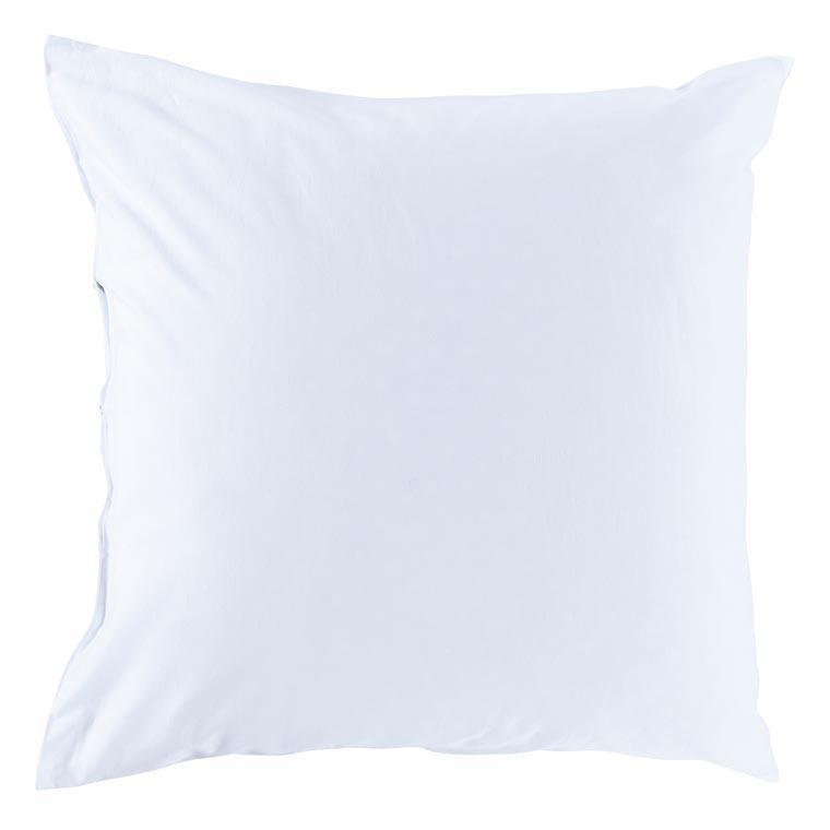 Taie d'oreiller carrée satin de coton lavé bio Quartz blanc - 1