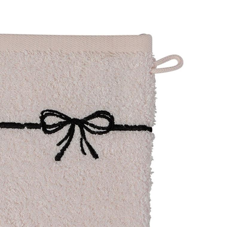 Gant de toilette bouclette de coton et viscose de bambou broderie noeud Promesse nude  - 2