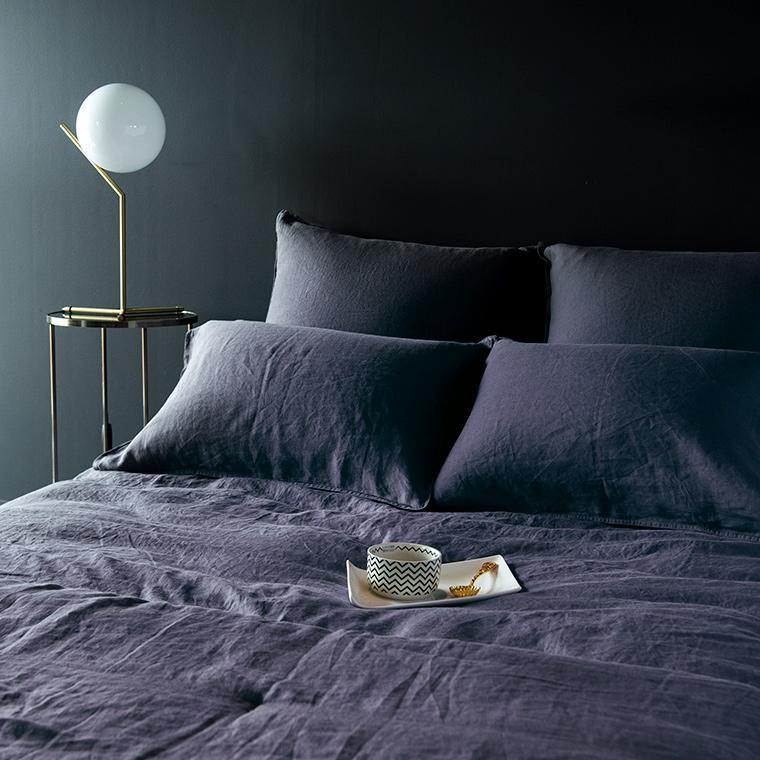 Parure de lit en lin lavé Songe anthracite - 0