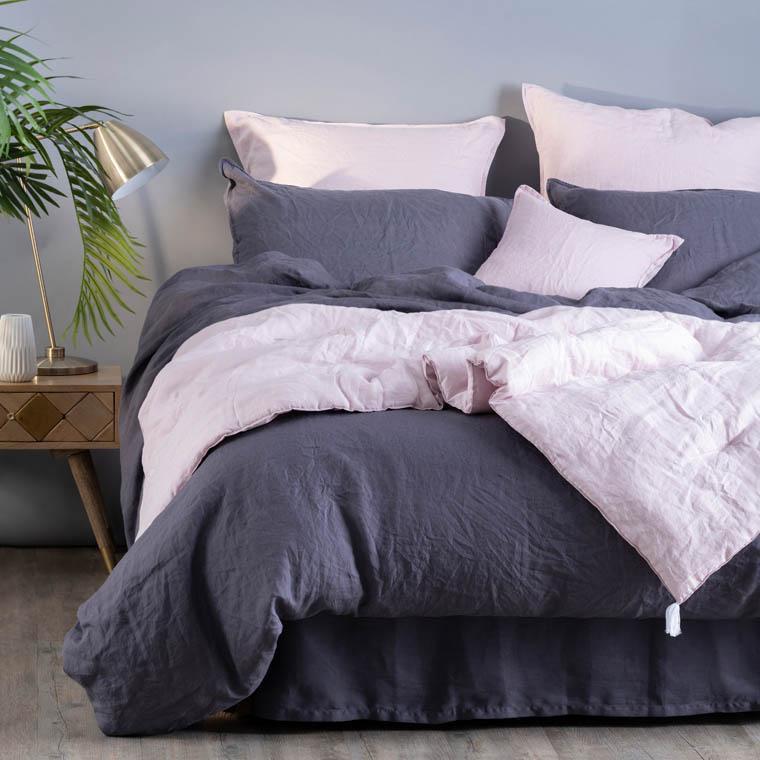 Parure de lit en lin lavé Songe anthracite - 3
