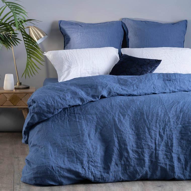 Taie d'oreiller carré en lin lavé Songe encre - 2