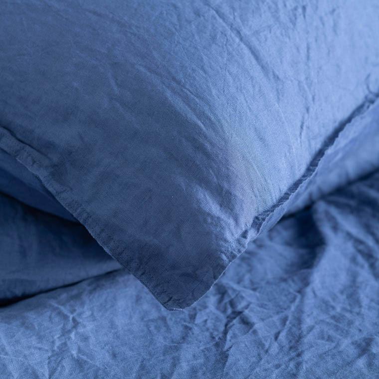Taie d'oreiller carré en lin lavé Songe encre - 1
