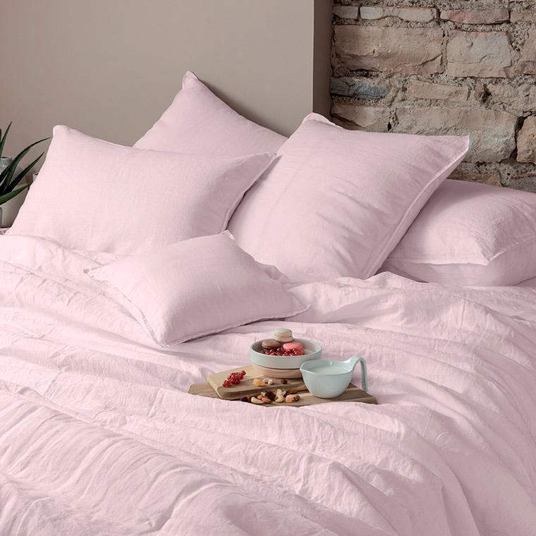Parure de lit lin et coton lavé Songe poudre - 0