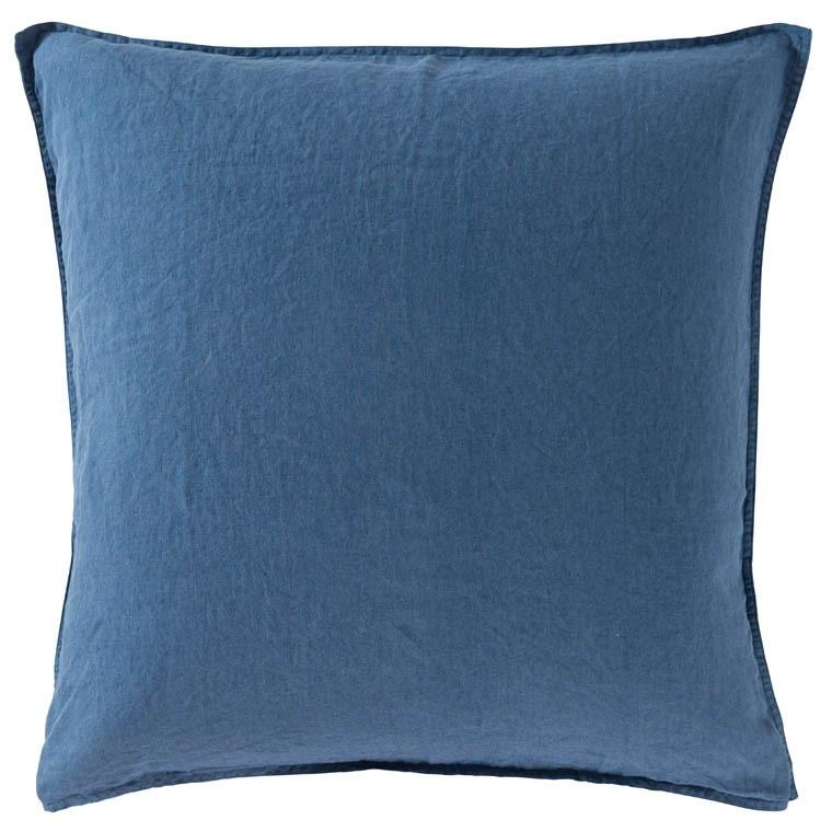 Taie d'oreiller carré en lin lavé Songe encre - 0