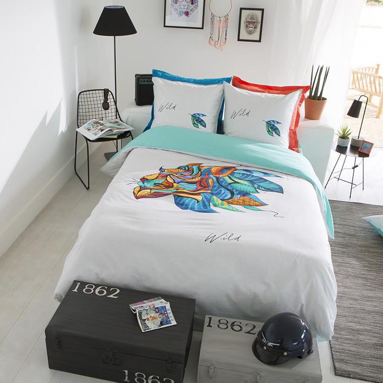 housse de couette wild carre blanc. Black Bedroom Furniture Sets. Home Design Ideas