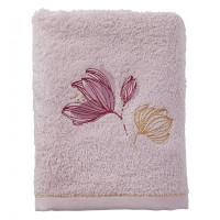 Serviette de toilette coton et viscose de bambou brodée fleurs Alcôve nacre