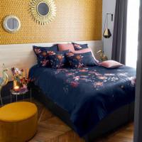 Housse de couette satin de coton imprimé floral Divine bleu nuit