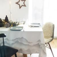 Nappe coton imprimé montagne Isatis blanc