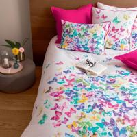 Housse de couette percale de coton imprimée papillons Issoria
