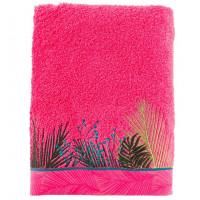 Drap de bain bouclette de coton brodé fresque jungle tropicale Jalapao fuchsia