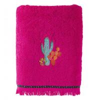 Drap de bain coton brodé cactus Latina hibiscus